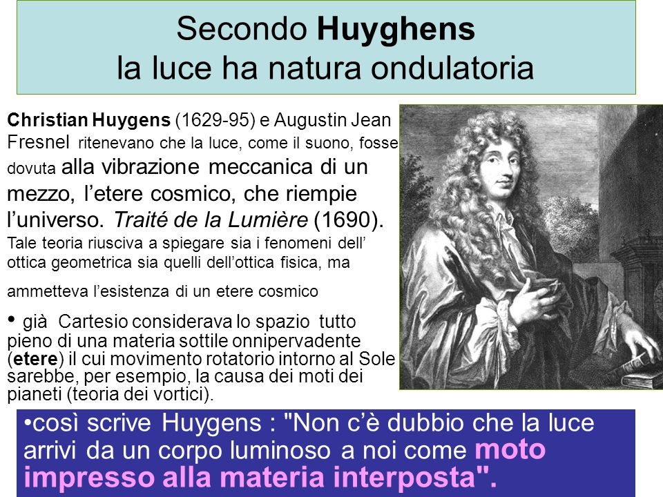 Secondo Huyghens la luce ha natura ondulatoria