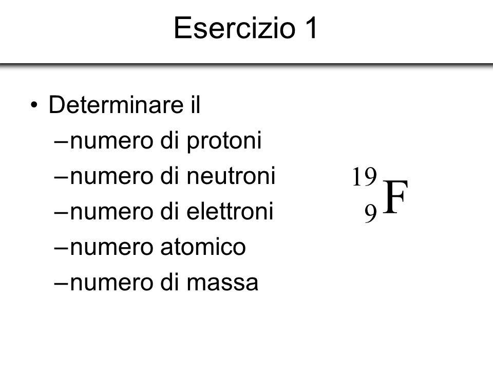 F Esercizio 1 19 9 Determinare il numero di protoni numero di neutroni