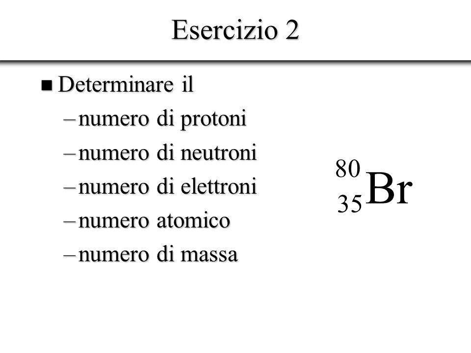 Br Esercizio 2 80 35 Determinare il numero di protoni