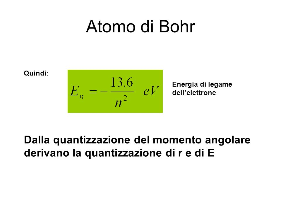 Atomo di Bohr Quindi: Energia di legame dell'elettrone.