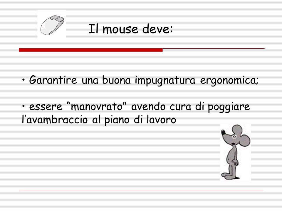 Il mouse deve: Garantire una buona impugnatura ergonomica;