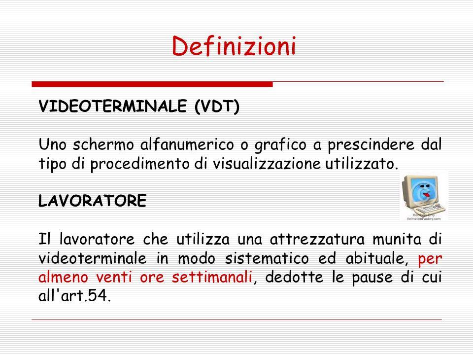 Definizioni VIDEOTERMINALE (VDT)