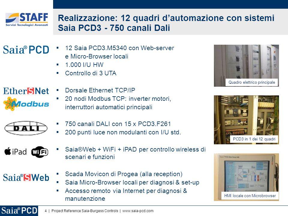 Realizzazione: 12 quadri d'automazione con sistemi Saia PCD3 - 750 canali Dali