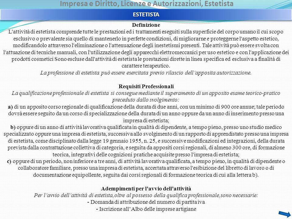 Impresa e Diritto, Licenze e Autorizzazioni, Estetista