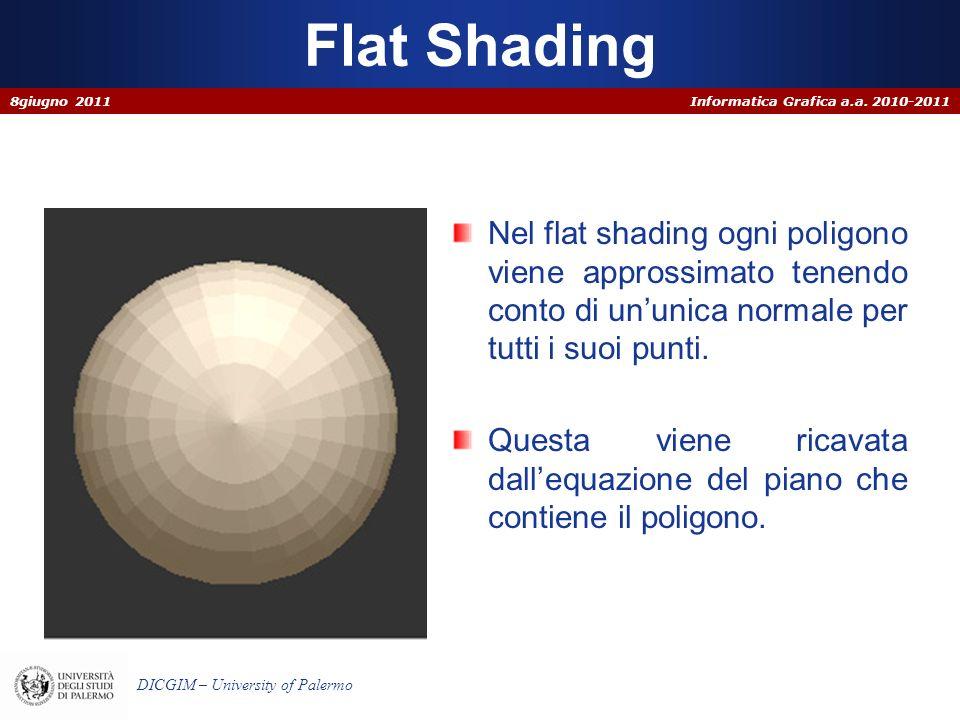 Flat Shading 8giugno 2011. Nel flat shading ogni poligono viene approssimato tenendo conto di un'unica normale per tutti i suoi punti.