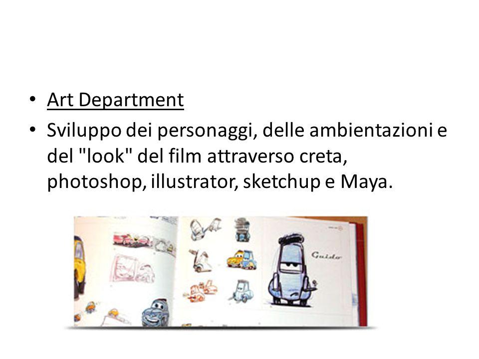Art Department Sviluppo dei personaggi, delle ambientazioni e del look del film attraverso creta, photoshop, illustrator, sketchup e Maya.