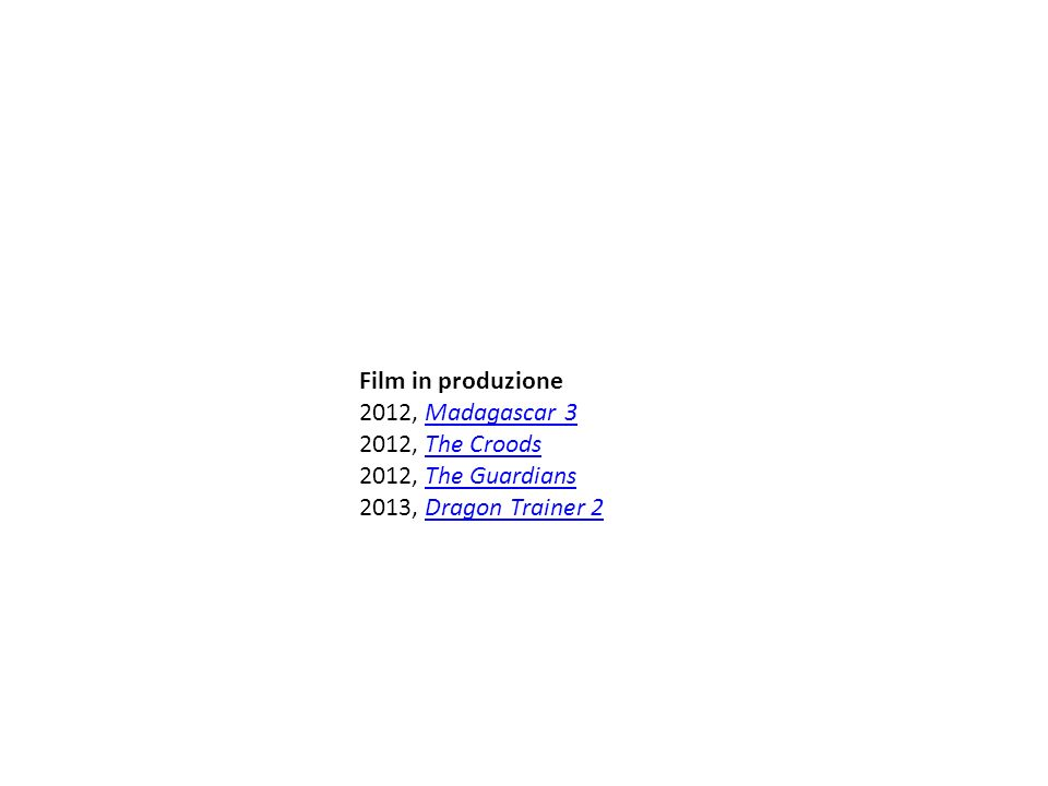 Film in produzione 2012, Madagascar 3 2012, The Croods 2012, The Guardians 2013, Dragon Trainer 2