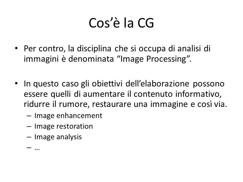 Cos'è la CG Per contro, la disciplina che si occupa di analisi di immagini è denominata Image Processing .