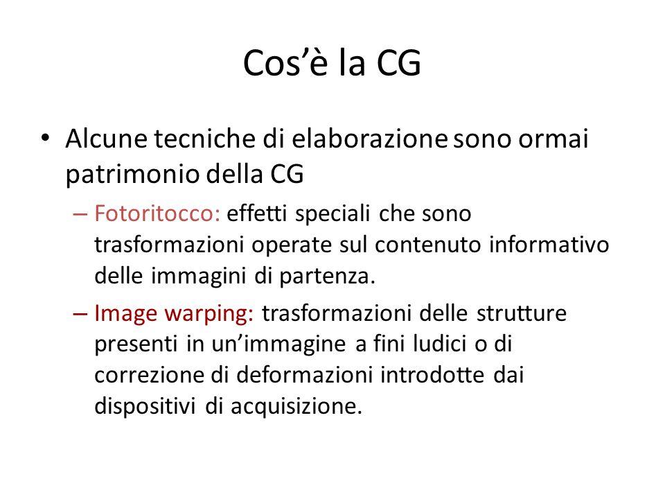 Cos'è la CG Alcune tecniche di elaborazione sono ormai patrimonio della CG.