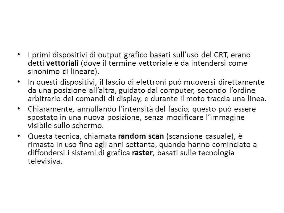 I primi dispositivi di output grafico basati sull'uso del CRT, erano detti vettoriali (dove il termine vettoriale è da intendersi come sinonimo di lineare).