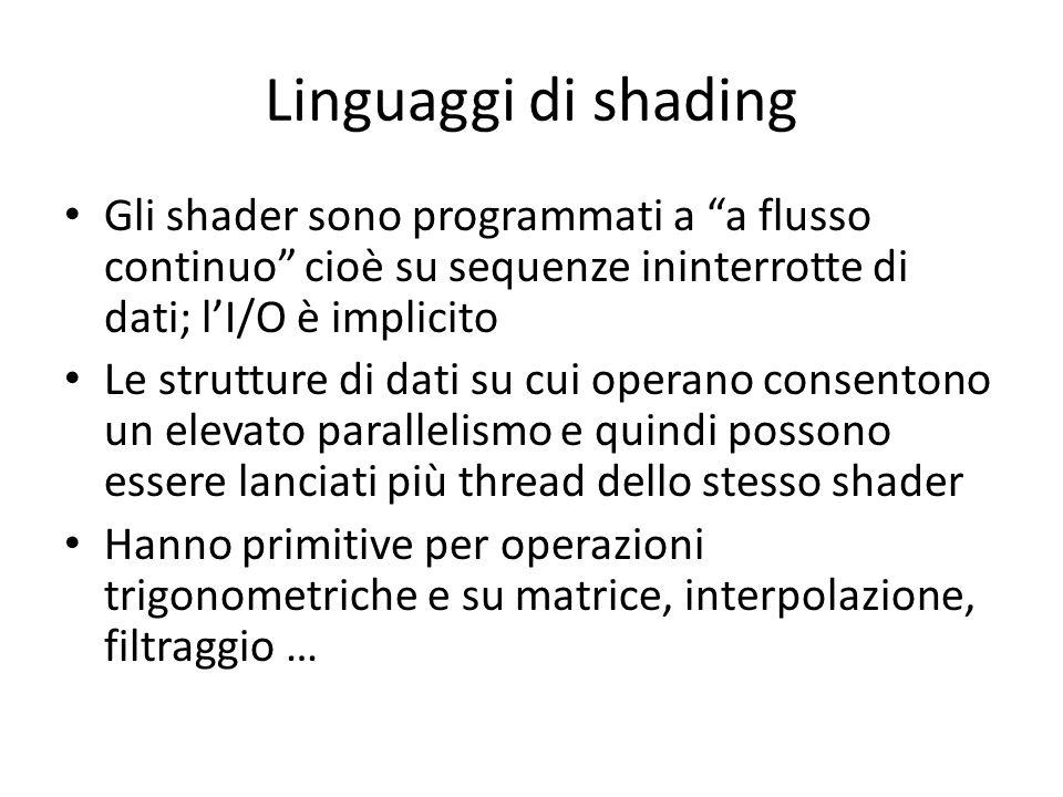 Linguaggi di shading Gli shader sono programmati a a flusso continuo cioè su sequenze ininterrotte di dati; l'I/O è implicito.