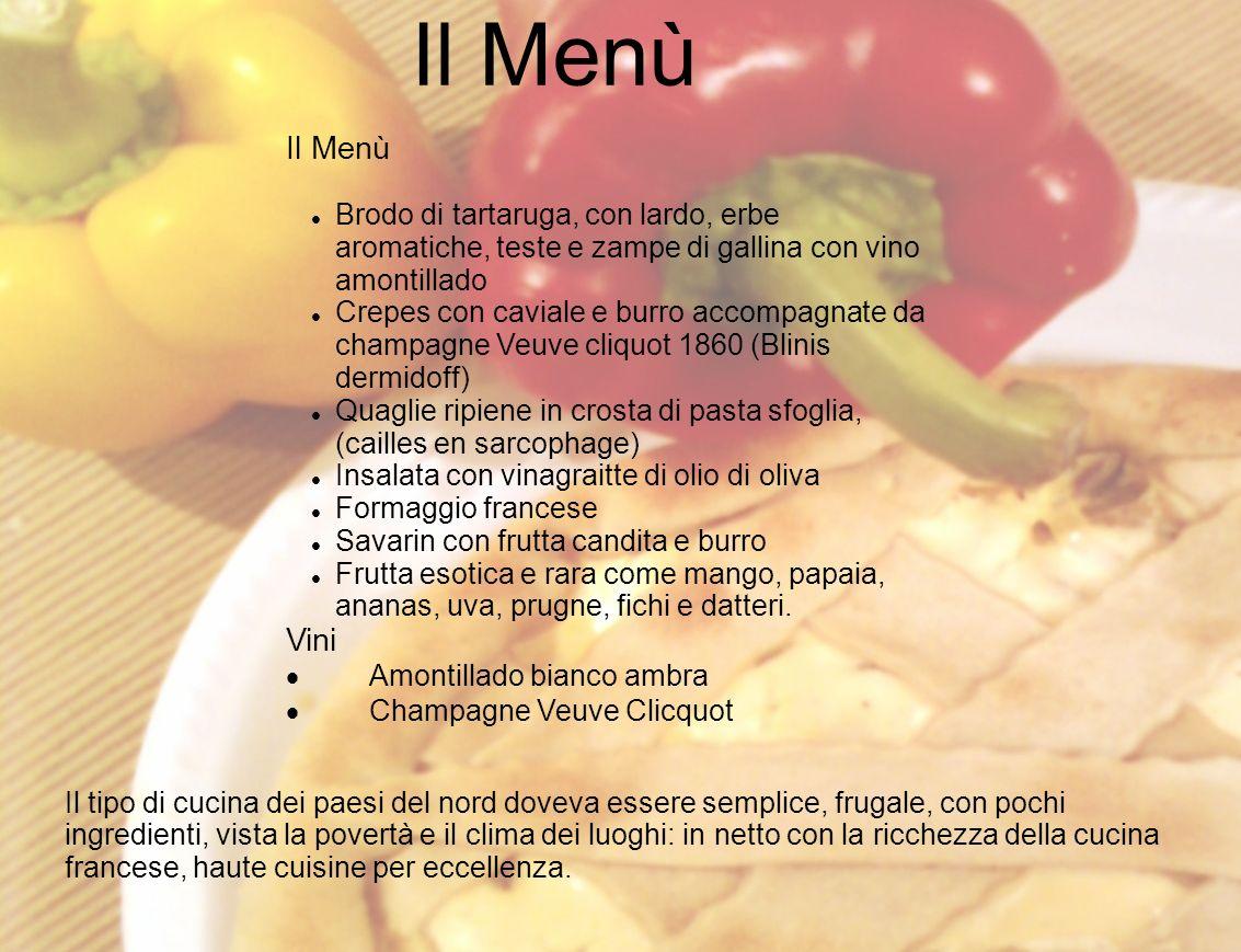 Il Menù Il Menù. Brodo di tartaruga, con lardo, erbe aromatiche, teste e zampe di gallina con vino amontillado.