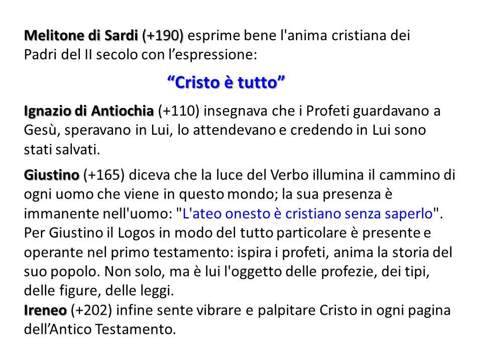 Melitone di Sardi (+190) esprime bene l anima cristiana dei Padri del II secolo con l'espressione: