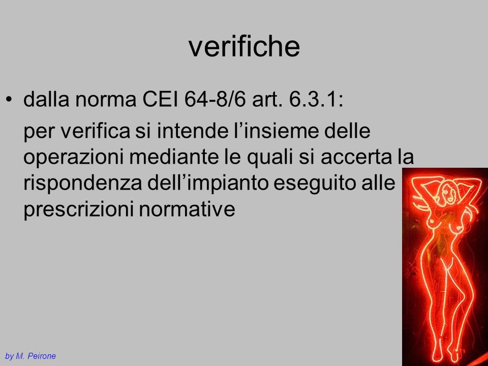 verifiche dalla norma CEI 64-8/6 art. 6.3.1:
