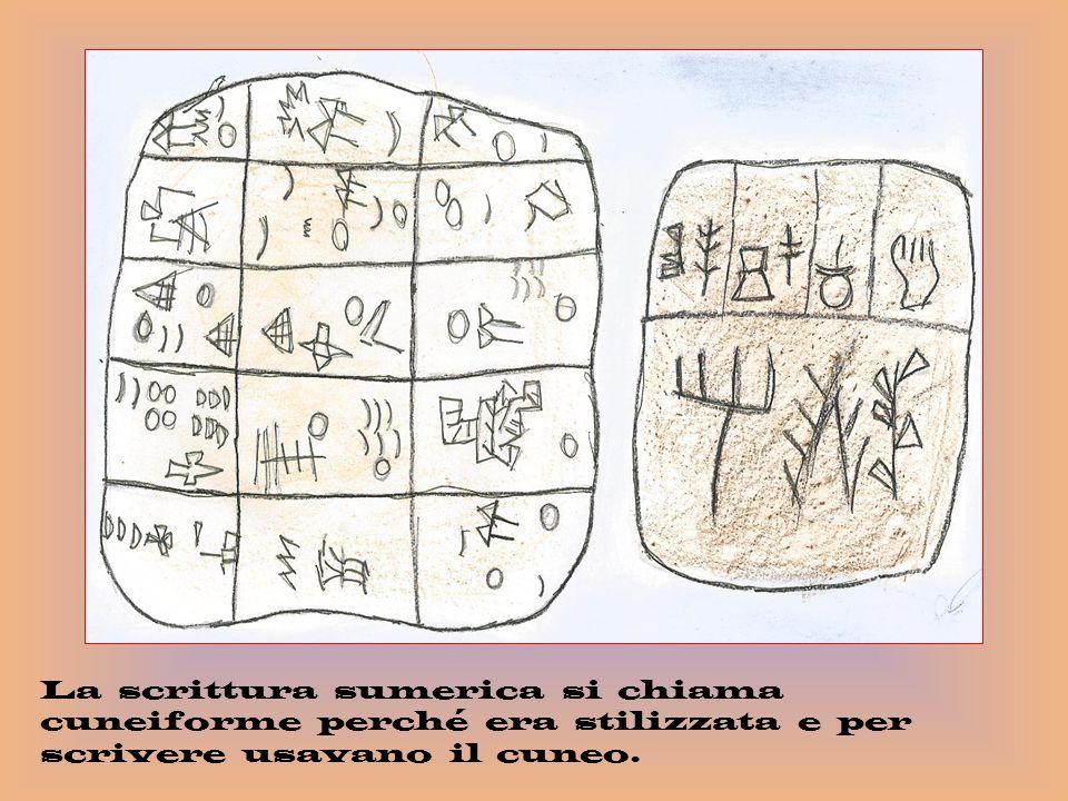 La scrittura sumerica si chiama cuneiforme perché era stilizzata e per scrivere usavano il cuneo.