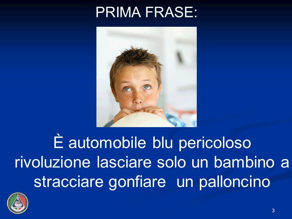 PRIMA FRASE: È automobile blu pericoloso rivoluzione lasciare solo un bambino a stracciare gonfiare un palloncino.