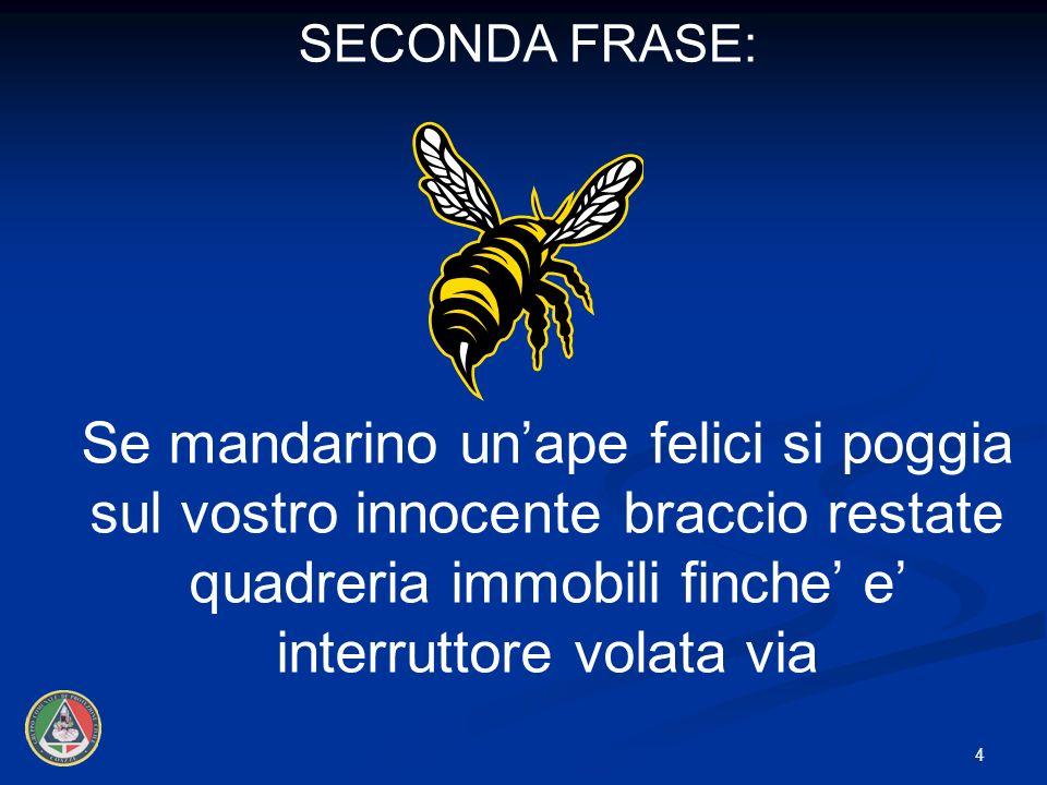 SECONDA FRASE: Se mandarino un'ape felici si poggia sul vostro innocente braccio restate quadreria immobili finche' e' interruttore volata via.