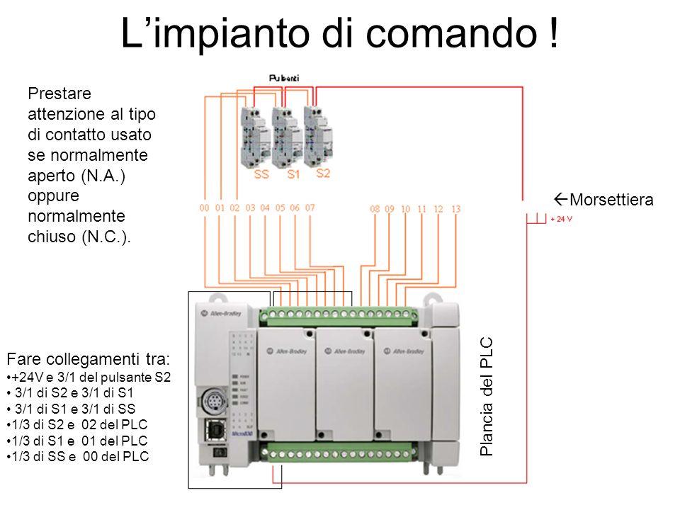 L'impianto di comando ! Prestare attenzione al tipo di contatto usato se normalmente aperto (N.A.) oppure normalmente chiuso (N.C.).