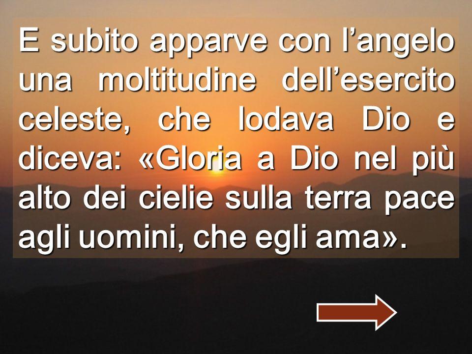 E subito apparve con l'angelo una moltitudine dell'esercito celeste, che lodava Dio e diceva: «Gloria a Dio nel più alto dei cielie sulla terra pace agli uomini, che egli ama».