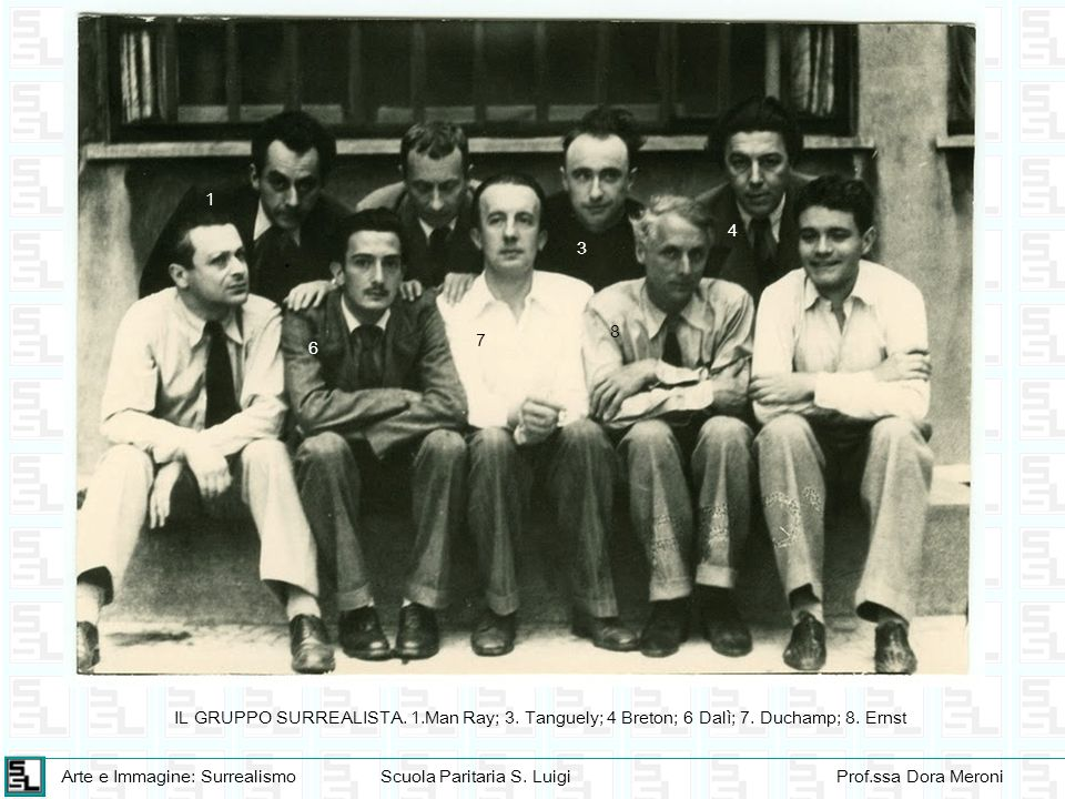1 4 3 8 7 6 IL GRUPPO SURREALISTA. 1.Man Ray; 3. Tanguely; 4 Breton; 6 Dalì; 7. Duchamp; 8. Ernst