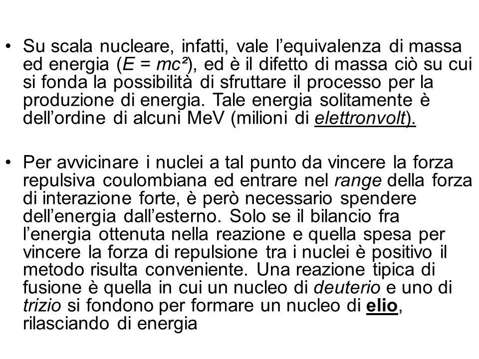 Su scala nucleare, infatti, vale l'equivalenza di massa ed energia (E = mc²), ed è il difetto di massa ciò su cui si fonda la possibilità di sfruttare il processo per la produzione di energia. Tale energia solitamente è dell'ordine di alcuni MeV (milioni di elettronvolt).