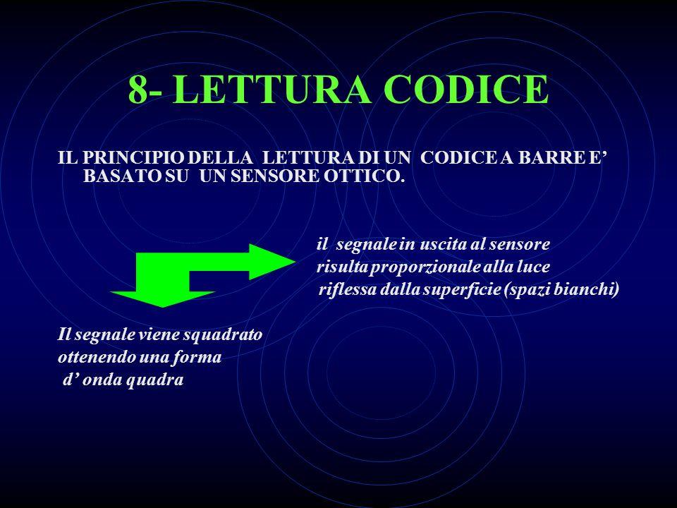 8- LETTURA CODICE IL PRINCIPIO DELLA LETTURA DI UN CODICE A BARRE E' BASATO SU UN SENSORE OTTICO.