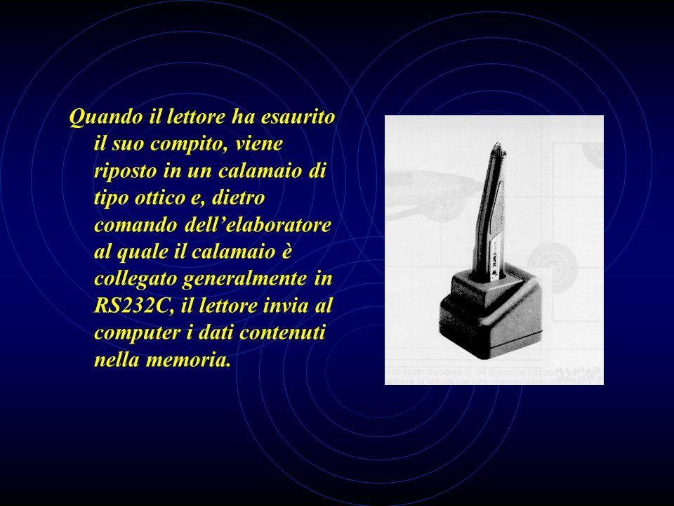 Quando il lettore ha esaurito il suo compito, viene riposto in un calamaio di tipo ottico e, dietro comando dell'elaboratore al quale il calamaio è collegato generalmente in RS232C, il lettore invia al computer i dati contenuti nella memoria.