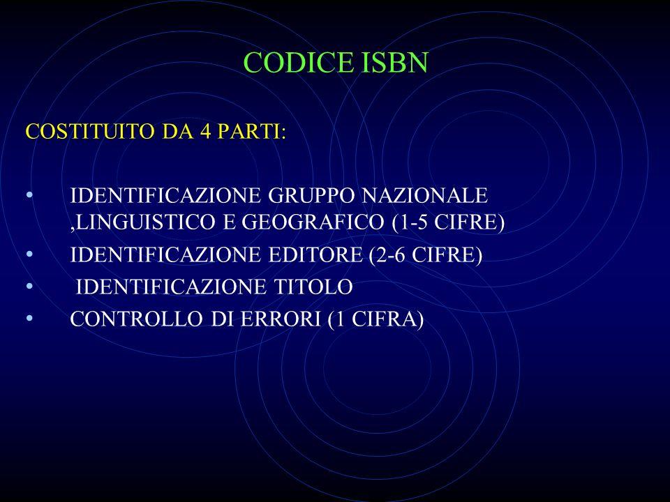 CODICE ISBN COSTITUITO DA 4 PARTI: