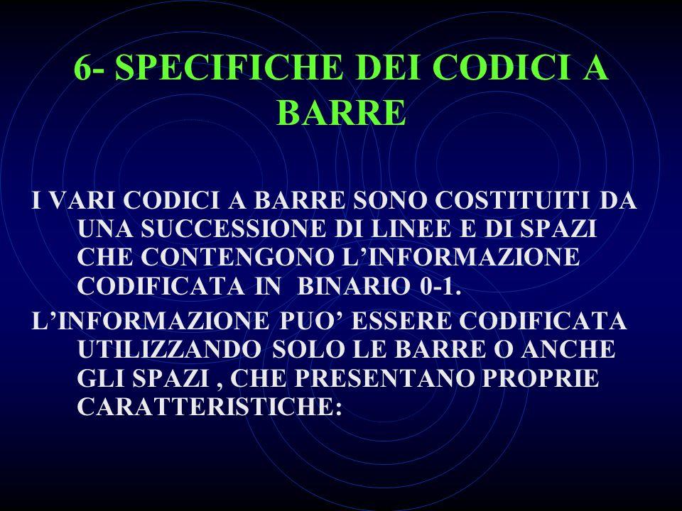 6- SPECIFICHE DEI CODICI A BARRE