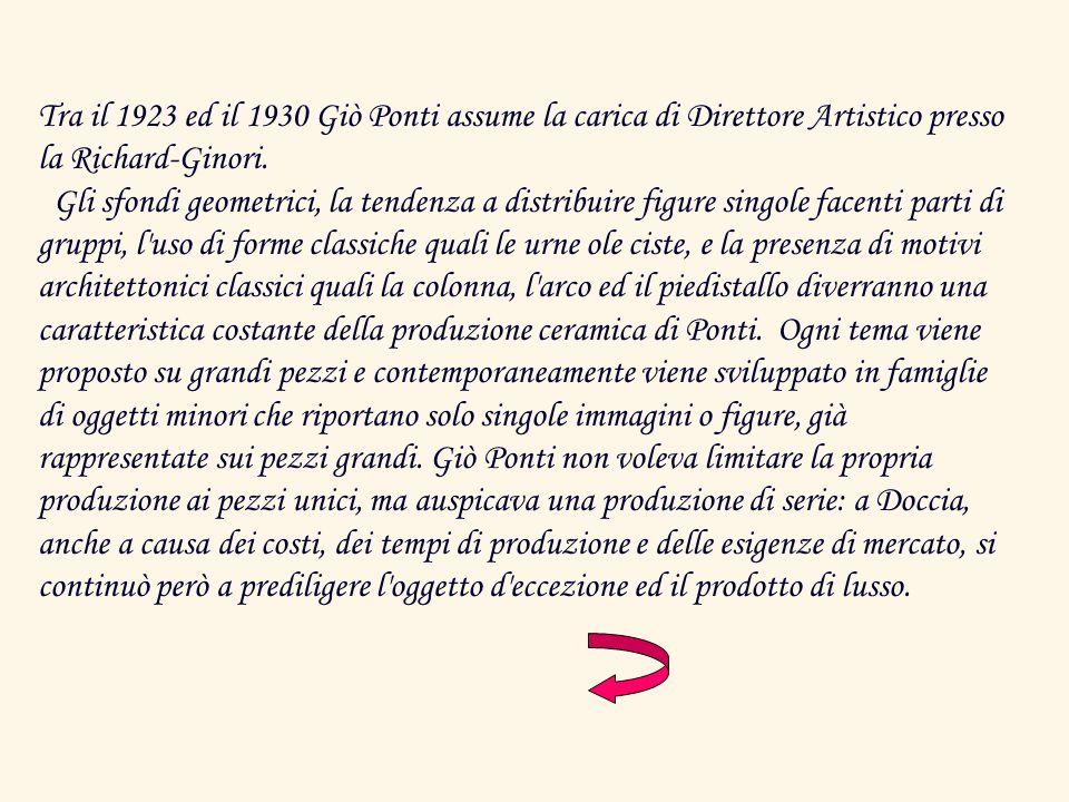 Tra il 1923 ed il 1930 Giò Ponti assume la carica di Direttore Artistico presso la Richard-Ginori.