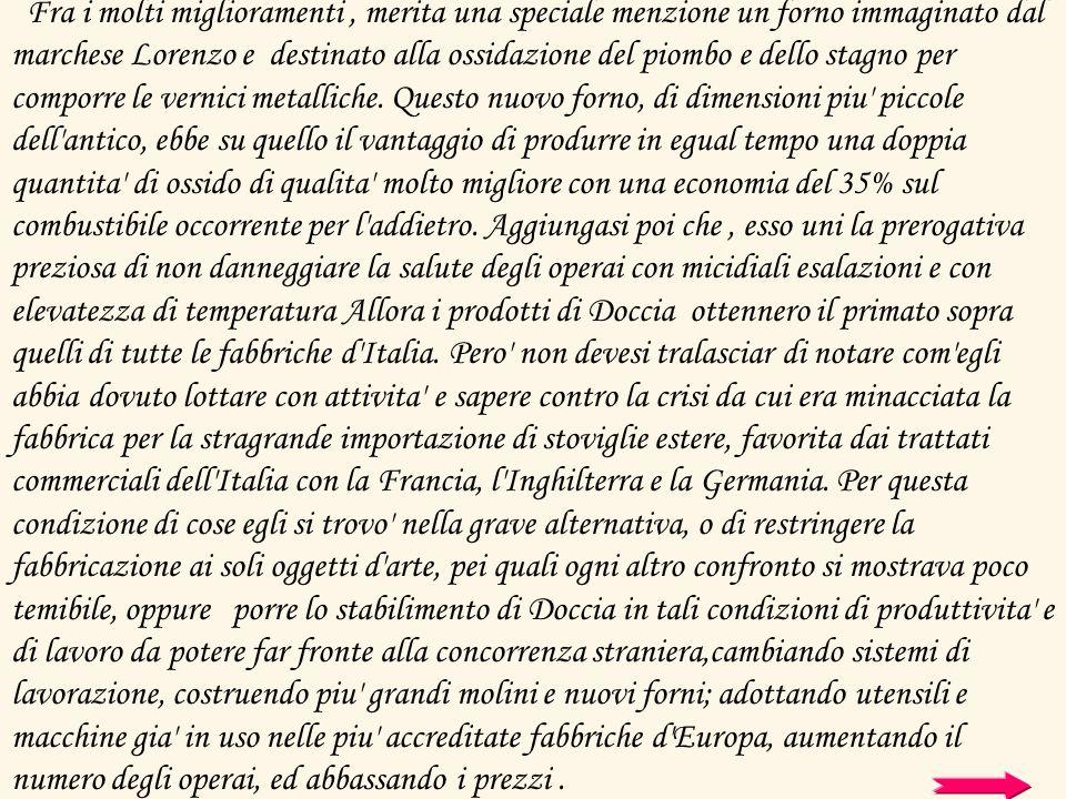 Fra i molti miglioramenti , merita una speciale menzione un forno immaginato dal marchese Lorenzo e destinato alla ossidazione del piombo e dello stagno per comporre le vernici metalliche.