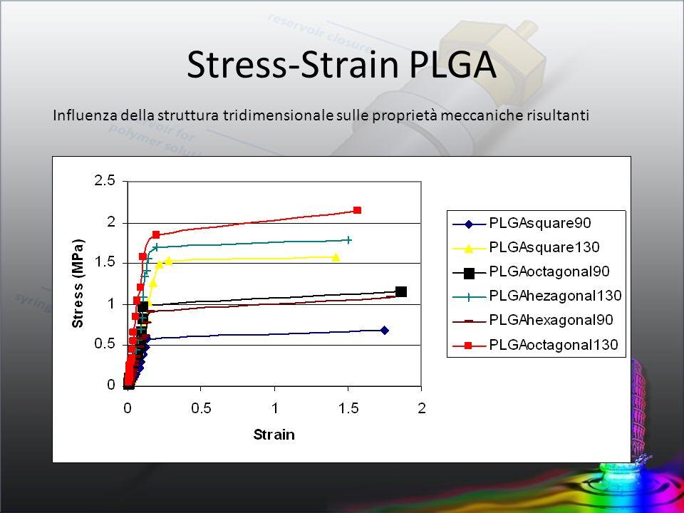 Stress-Strain PLGA Influenza della struttura tridimensionale sulle proprietà meccaniche risultanti.