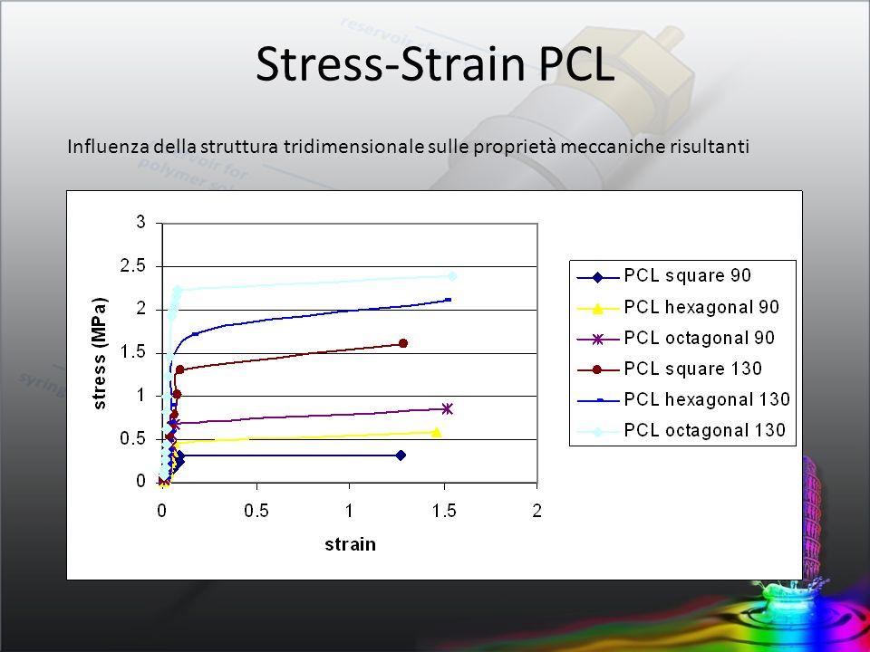 Stress-Strain PCL Influenza della struttura tridimensionale sulle proprietà meccaniche risultanti.