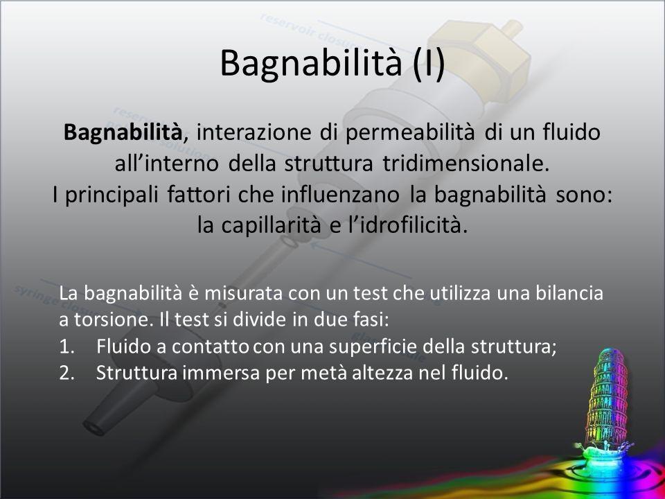 Bagnabilità (I) Bagnabilità, interazione di permeabilità di un fluido all'interno della struttura tridimensionale.