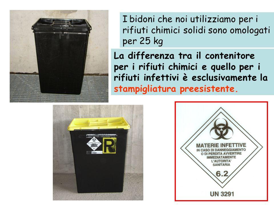 I bidoni che noi utilizziamo per i rifiuti chimici solidi sono omologati per 25 kg