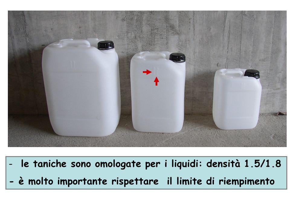 le taniche sono omologate per i liquidi: densità 1.5/1.8