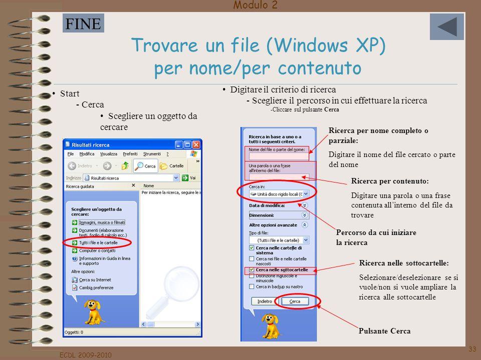 Trovare un file (Windows XP) per nome/per contenuto