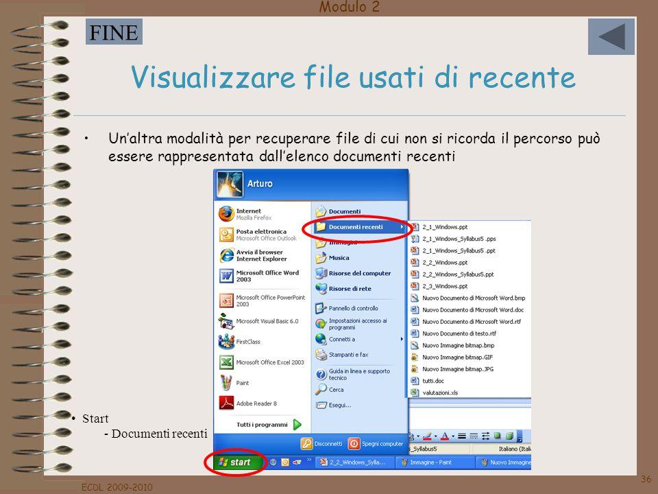 Visualizzare file usati di recente
