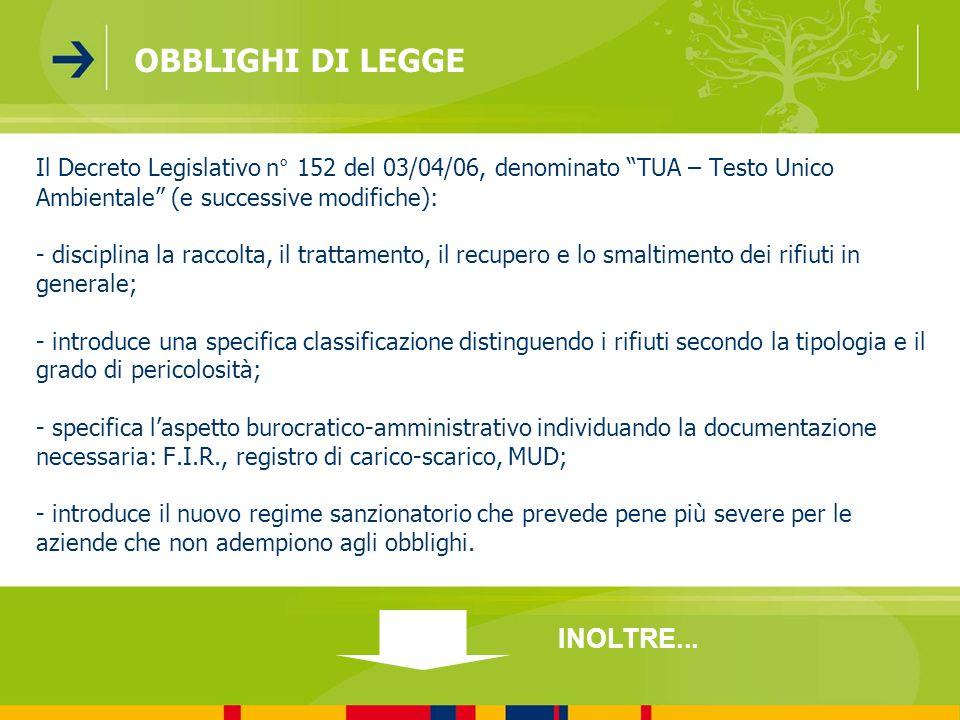 OBBLIGHI DI LEGGE INOLTRE...