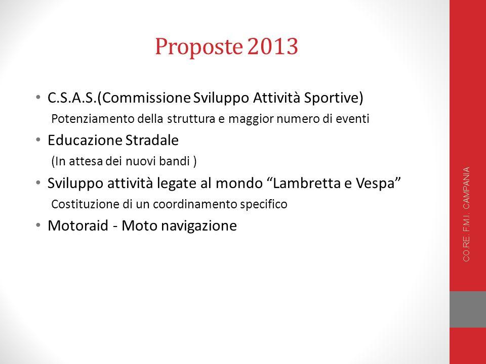 Proposte 2013 C.S.A.S.(Commissione Sviluppo Attività Sportive)