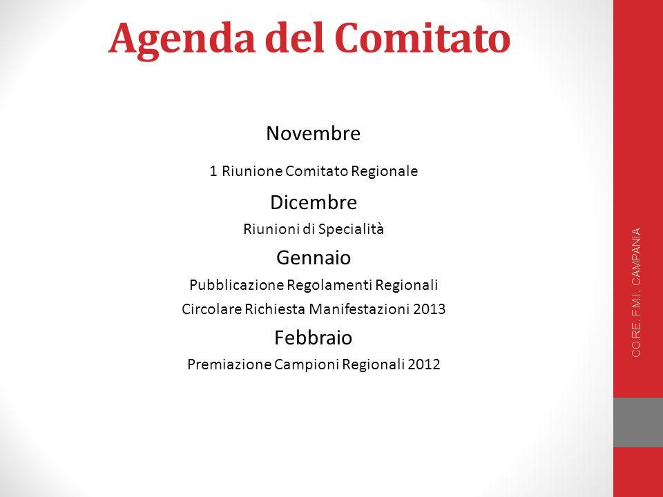 Agenda del Comitato Novembre Dicembre Gennaio Febbraio