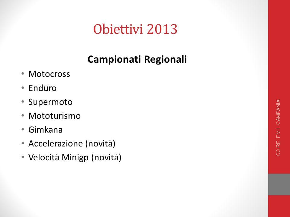 Obiettivi 2013 Campionati Regionali Motocross Enduro Supermoto