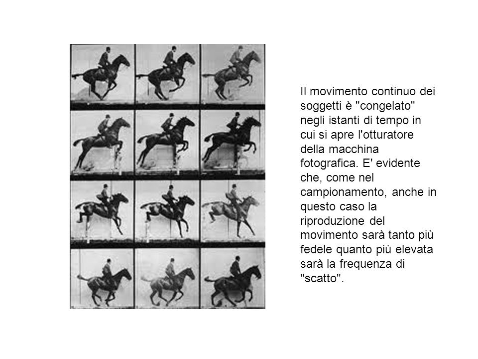Il movimento continuo dei soggetti è congelato negli istanti di tempo in cui si apre l otturatore della macchina fotografica.