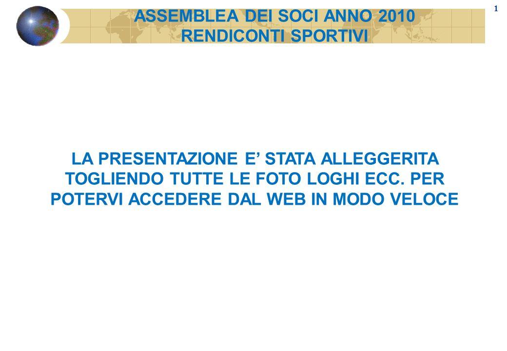ASSEMBLEA DEI SOCI ANNO 2010 RENDICONTI SPORTIVI