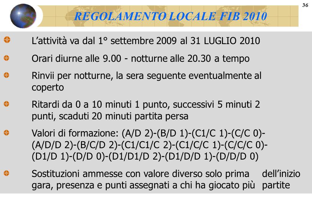 REGOLAMENTO LOCALE FIB 2010
