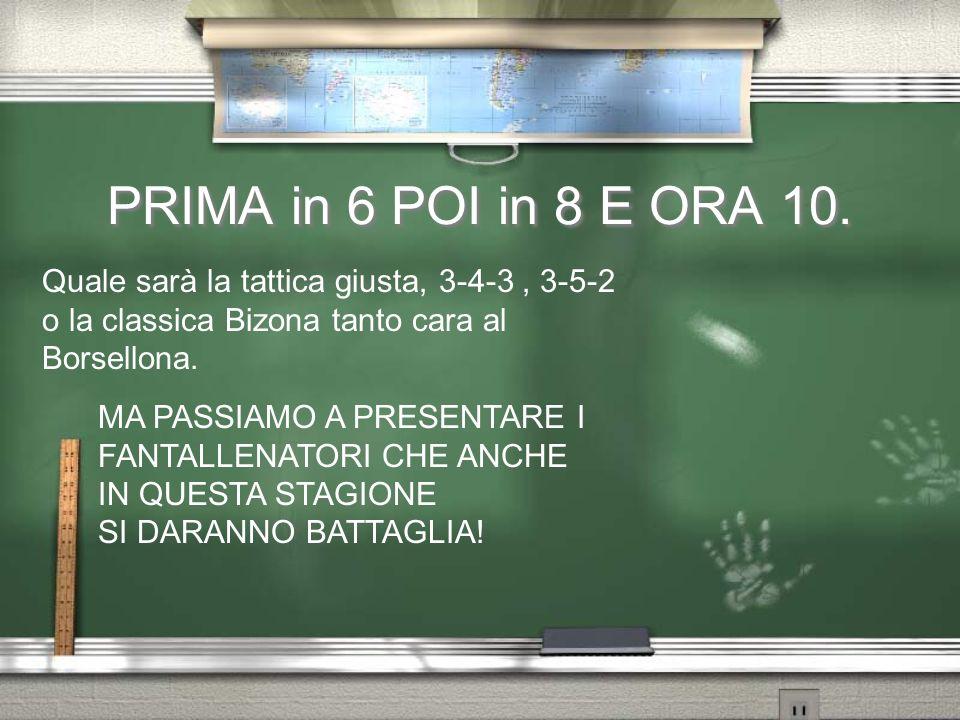 PRIMA in 6 POI in 8 E ORA 10.Quale sarà la tattica giusta, 3-4-3 , 3-5-2 o la classica Bizona tanto cara al Borsellona.