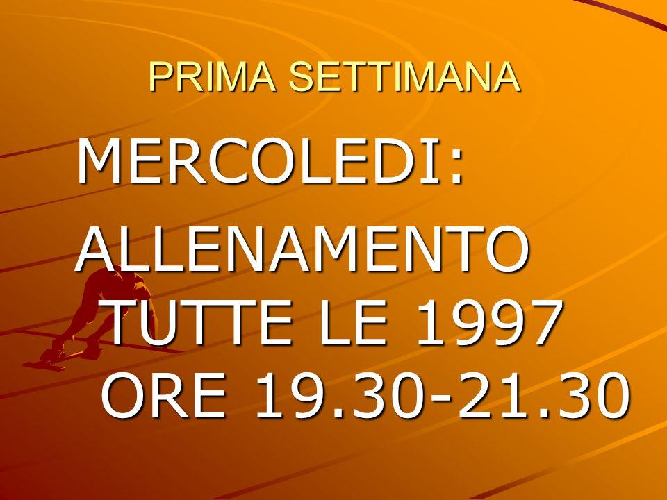 ALLENAMENTO TUTTE LE 1997 ORE 19.30-21.30