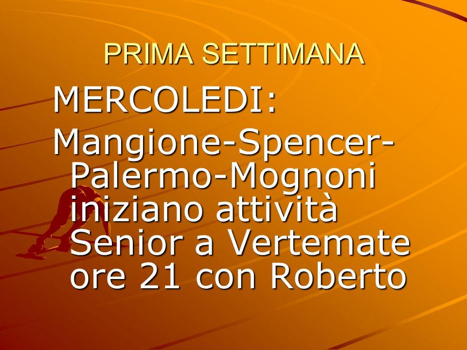 PRIMA SETTIMANA MERCOLEDI: Mangione-Spencer-Palermo-Mognoni iniziano attività Senior a Vertemate ore 21 con Roberto.