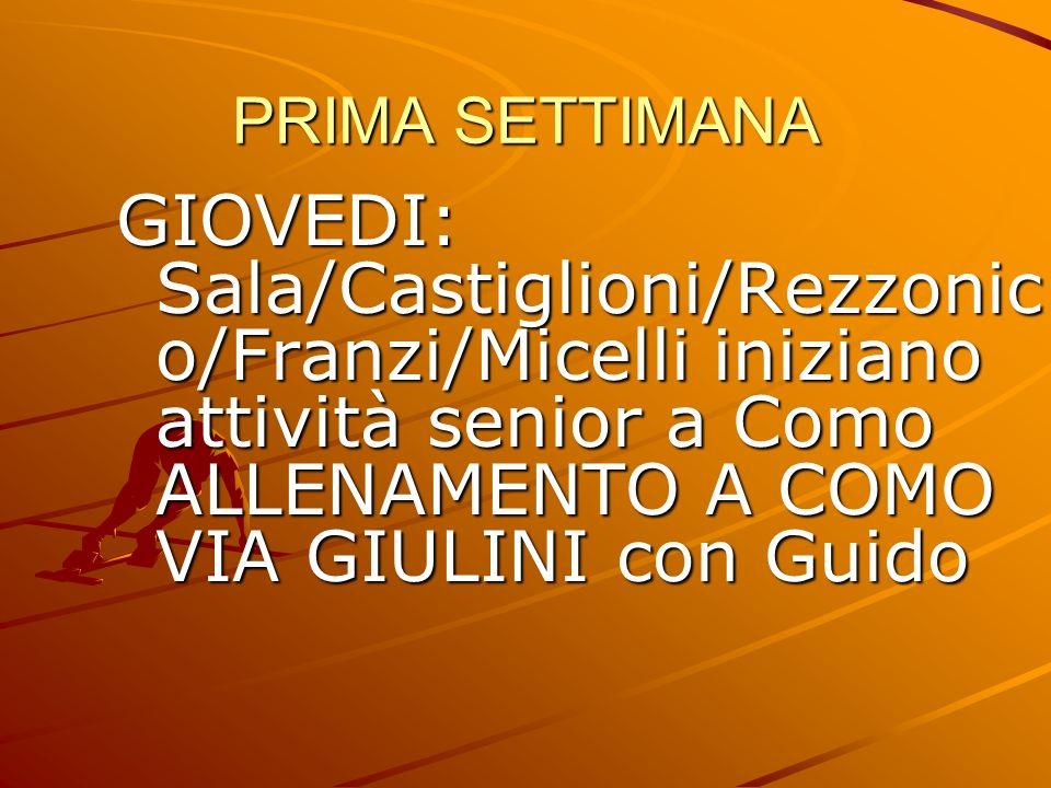 PRIMA SETTIMANA GIOVEDI: Sala/Castiglioni/Rezzonico/Franzi/Micelli iniziano attività senior a Como ALLENAMENTO A COMO VIA GIULINI con Guido.