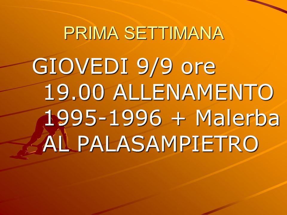GIOVEDI 9/9 ore 19.00 ALLENAMENTO 1995-1996 + Malerba AL PALASAMPIETRO